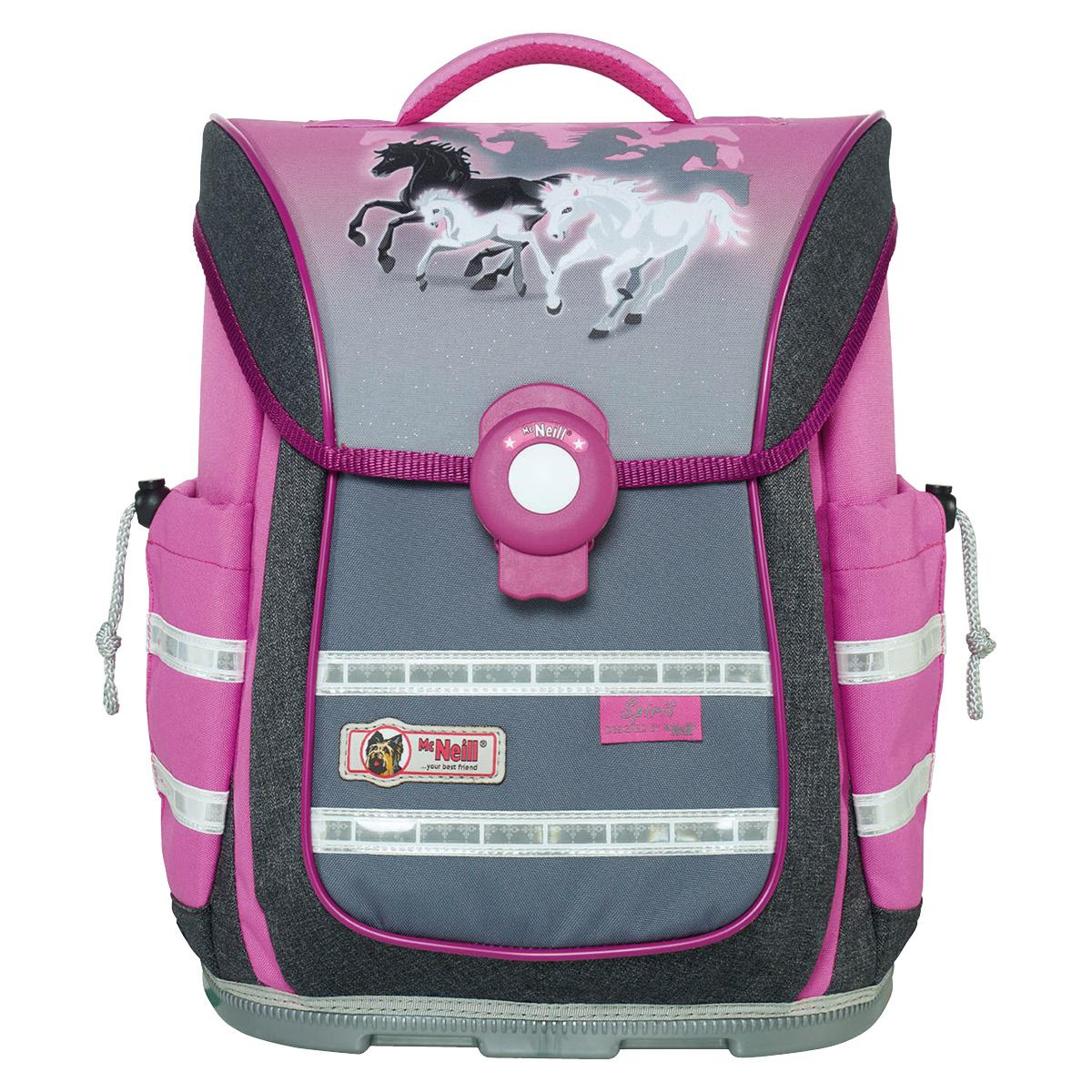 McNeill-Schulranzen-ERGO-Light-PURE-9630171000-grau-rosa-pferde